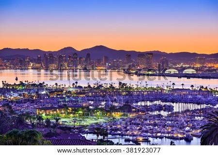 San Diego, California, USA dawn skyline over the bay. - stock photo