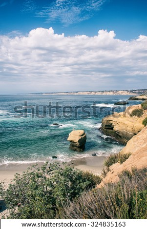 San Diego, California, USA - La Jolla cliffs - stock photo