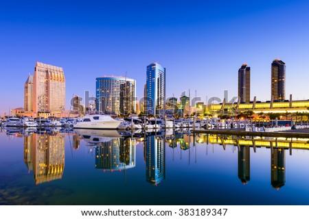San Diego, California, USA skyline at the Embarcadero Marina. - stock photo