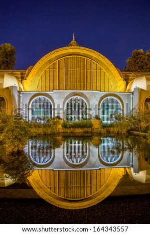 SAN DIEGO - CIRCA JANUARY 2013 - Reflecting pool in front of Balboa Park Arboretum. Balboa Park is a 1,200-acre urban cultural park in San Diego, California.  - stock photo