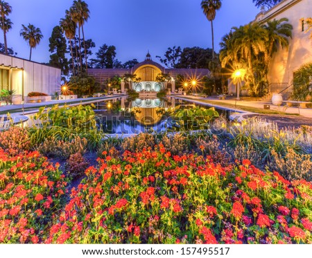 SAN DIEGO - CIRCA MAY 2012 - Lily Pond in front of Botanical Garden building. Balboa Park is a 1,200-acre urban cultural park in San Diego, California.  - stock photo