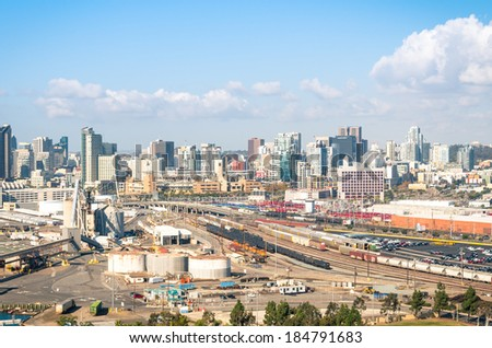 SAN DIEGO - DECEMBER 20, 2013: industrial area in San Diego downtown viewed from Coronado Bridge. San Diego hosts several major producers of wireless cellular technology and software companies. - stock photo