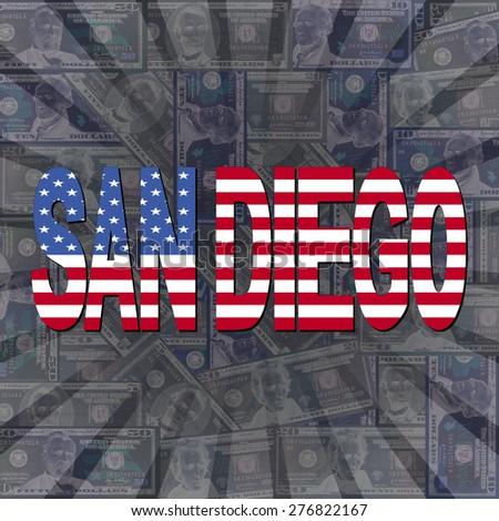 San Diego flag text on dollars sunburst illustration - stock photo