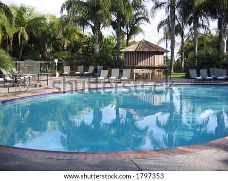 San Diego Hotel Poolside - stock photo