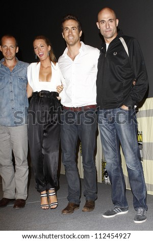 SAN DIEGO - JUL 24: Peter Sarsgaard, Blake Lively, Ryan Reynolds, Mark Strong backstage at the 2010 Comic Con on July 24, 2010 in San Diego, California. - stock photo