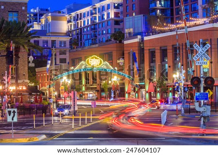SAN DIEGO-SEP 28, 2014: The Gaslamp Quarter in San Diego, California, on September 28, 2014 The Gaslamp Quarter extends from Broadway to Harbor Drive, and from 4th to 6th Avenue. - stock photo