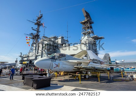 SAN DIEGO-SEP 28, 2014:The historic aircraft carrier, USS Midway now a museum docked in Downtown San Diego, on September 28, 2014  - stock photo