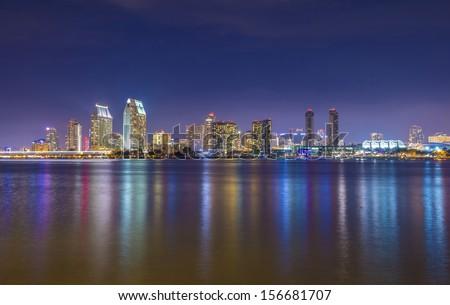 San Diego skyline at night as seen from coronado peninsula - stock photo