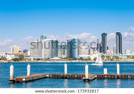 San Diego Skyline from Coronado Island - stock photo