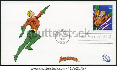 SAN DIEGO, UNITED STATES OF AMERICA - JULY 20, 2006: A stamp printed in USA shows Aquaman, series the DC Comics - stock photo