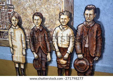 SAN DIEGO USA APRIL 05: Mural tells the story of San Diego in Old Town San Diego State Historic Park, located in the Old Town of San Diego, California,. On april 05 2015 in San Diego CA USA - stock photo