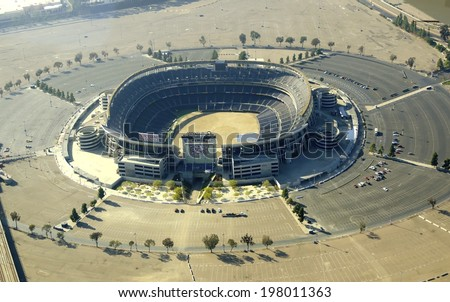 SAN DIEGO,USA - FEBRUARY 25 2014: Aerial view of Qualcomm Stadium, in Southern California, United States America. A stadium used for concerts, the super bowl, football, baseball games and other sports - stock photo
