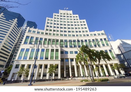 SAN DIEGO,USA - FEBRUARY 24 2014: The Hall of Justice courthouse, on Broadway, in Downtown San Diego, southern California, United States of America.  - stock photo