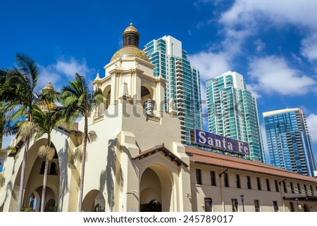 SAN DIEGO, USA - SEP 28, 2014: Union Station on September 28, 2014 in San Diego, USA. The Spanish Colonial Revival style station opened on March 8, 1915 as Santa Fe Depot. - stock photo