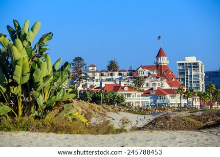 "SAN DIEGO, USA - SEP 28, 2014:  Victorian Hotel del Coronado on September 28, 2014 in San Diego, USA. In the hotel was filmed famous comedy ""Some like it hot"", which starred Marilyn Monroe.  - stock photo"