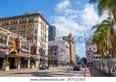 SAN DIEGO, USA - SEPT 28, 2014: San Diego city on September 28, 2014 San Diegois a major city in California, on the coast of the Pacific Ocean in Southern California,  - stock photo