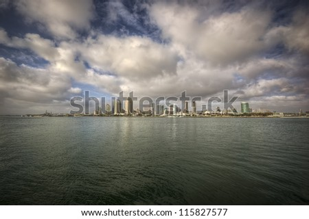 San Diego with clouds - stock photo