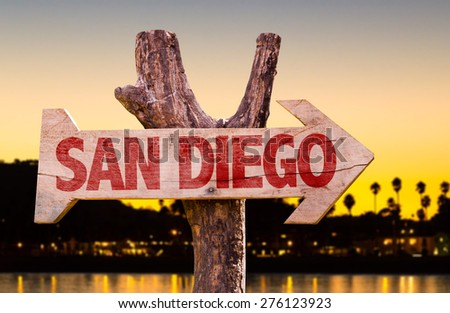 San Diego wooden sign with sunset background - stock photo