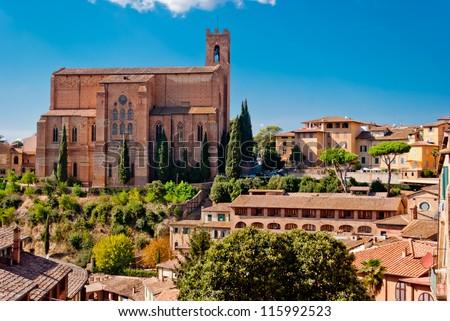 San Domenico church, Siena, Italy - stock photo