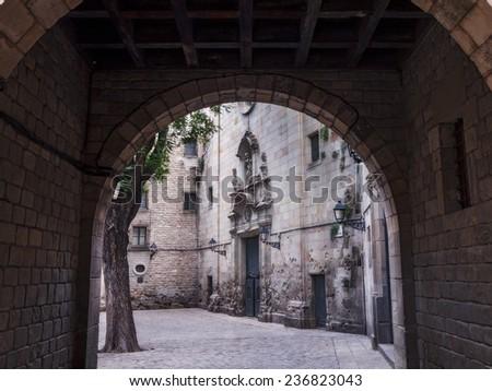 San Felipe Neri square. Barcelona, Spain - stock photo