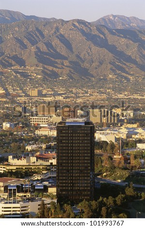 San Fernando Valley with mountains in background - stock photo