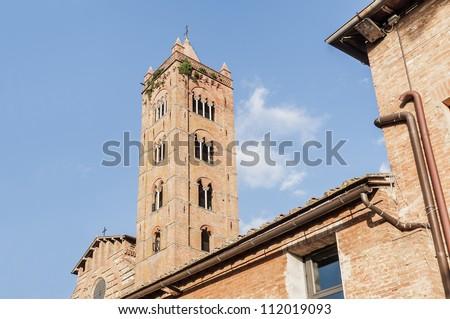 San Francesco, a basilica church in Siena, Tuscany, Italy. - stock photo