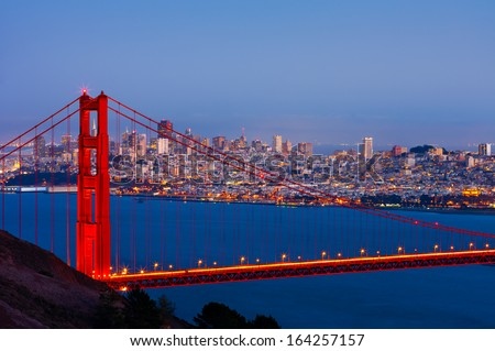 San Francisco and Golden Gate Bridge at night - stock photo