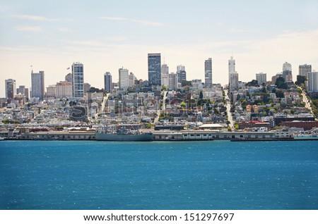 San Francisco, as Alcatraz prisoners saw it every day, California - stock photo