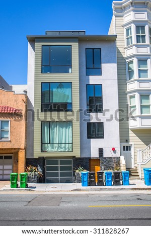 SAN FRANCISCO - August 2015: Modern apartment building in San Francisco, CA - stock photo