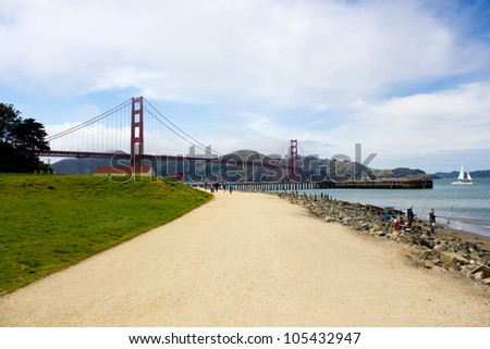 San Francisco Bay: a view of the Golden Gate - stock photo