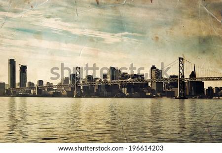SAN FRANCISCO Bay Bridge. Bay area landscape. - stock photo