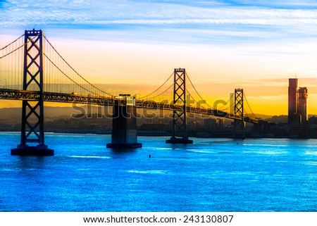 San Francisco Bay bridge, California, USA. - stock photo