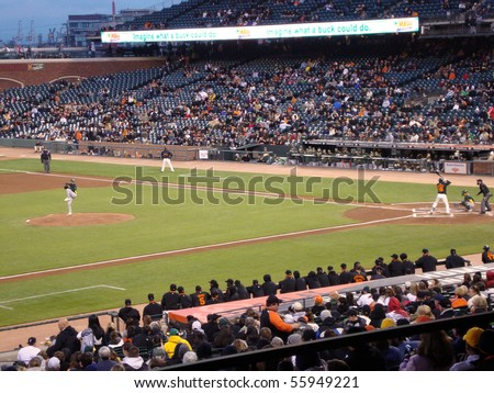 SAN FRANCISCO, CA - APRIL 1: Giants vs. A's: Edgar Renteria waits for a pitch during a exhibition night baseball game, taken at At&T Park San Francisco on April 1, 2010. - stock photo