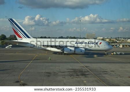 SAN FRANCISCO, CA - CIRCA NOVEMBER 2010: Air France Airbus A380 jumbo jet on tarmac at San Francisco International Airport - stock photo