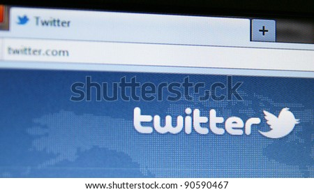 SAN FRANCISCO, CA  - DEC 9: Twitter changes to online and mobile versions of the microblogging site and a simplified design to make it easier to connect with others on Dec 9, 2011 in San Fransisco, CA - stock photo