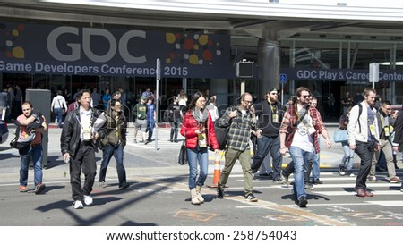 SAN FRANCISCO, CA - MARCH 05, 2015: Game Developers Convention 2015 entrance. GDC is the most important conference about videogames development in the world at the Moscone Centre - stock photo