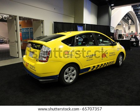 SAN FRANCISCO, CA - NOVEMBER 20: AAA Emergency Road Service Toyota Prius automobile is displayed at the 53rd San Francisco International Auto Show, on Saturday November 20, 2010 San Francisco. - stock photo