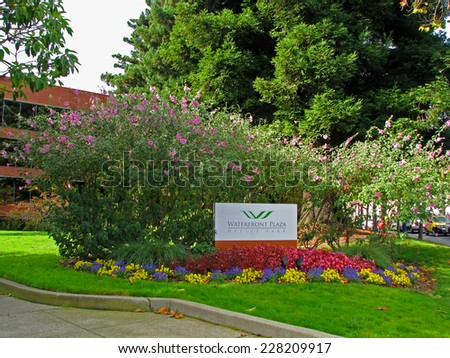 SAN FRANCISCO, CA - NOVEMBER 18: Waterfront Plaza Office Park Sign 2012 - stock photo