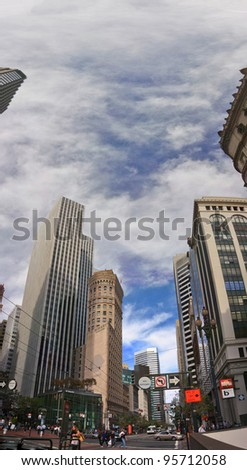 SAN FRANCISCO, CA - OCT 2: The 172m 43 floors tower 44 Montgomery is an office skyscraper designed by architect John Graham located in the Financial District of San Francisco on October 2, 2011 - stock photo