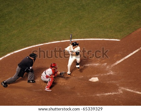 SAN FRANCISCO, CA - OCTOBER 20: Giants vs. Phillies: Freddy Sanchez lifts foot into the air in batters box waiting for pitch game 4 NLCS 2010 October 20, 2010 AT&T Park San Francisco. - stock photo