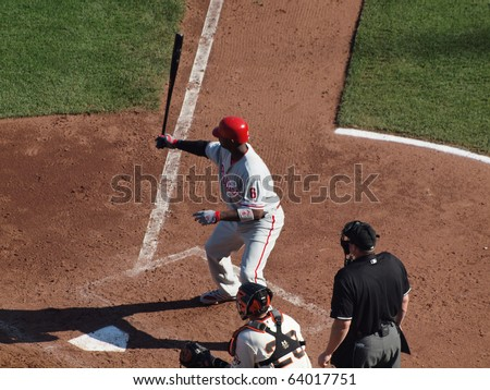 SAN FRANCISCO, CA - OCTOBER 19: Giants vs. Phillies: Ryan Howard holds bat in the air in the batters box during his pre-pitch ritual 3 NLCS 2010 October 19, 2010 AT&T Park San Francisco - stock photo