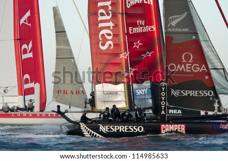 SAN FRANCISCO, CA - OCTOBER 4: Luna Rossa Swordfish and Emirates Team New Zealand compete in the America'??s Cup World Series sailing races in San Francisco, CA on October 4, 2012 - stock photo