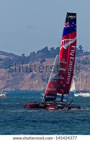 SAN FRANCISCO, CA - OCTOBER 7:  New Zealand team race in Louis Vuitton Cup part of America's Cup World Series on Oct 7, 2012 in San Francisco, CA. - stock photo