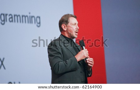 SAN FRANCISCO, CA, SEP 22 - CEO of Oracle Larry Ellison makes his speech at Oracle OpenWorld conference in Moscone center on Sep 22, 2010 in San Francisco. He is the third in the Forbes list of richest US persons - stock photo