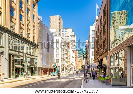 SAN FRANCISCO, CA - SEP 20: Downtown of San Francisco on September 20, 2013 in San Francisco. San Francisco has become the capital of what someone described to me as three-business-card life. - stock photo