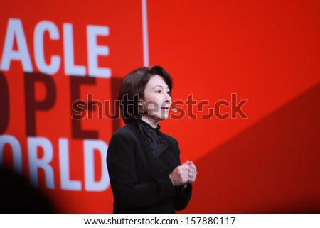 SAN FRANCISCO, CA, SEPT 24, 2013 - Oracle President and CFO Safra Catz makes speech at Oracle OpenWorld conference in Moscone center on Sept 24, 2013 in San Francisco, CA  - stock photo