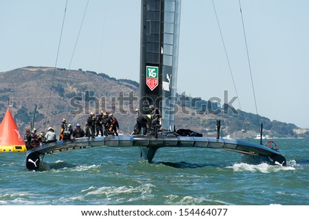 SAN FRANCISCO, CA - SEPTEMBER 12: The crew of Oracle Team USA prepares to compete in the America's Cup sailing races in San Francisco, CA on September 12, 2013 - stock photo