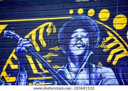 SAN FRANCISCO CA USA APRIL 14 2015: Jimi Hendrix mural in San Francisco is a virtual outdoor art gallery where city walls become the artist canvas and the unremarkable become works of art. - stock photo
