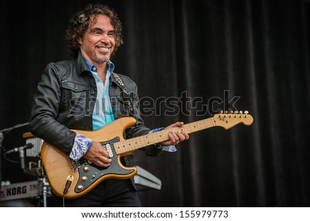 San Francisco, CA USA - August 11, 2013: John Oats performing at the 2013 Outside Lands music festival in Golden Gate Park.  - stock photo