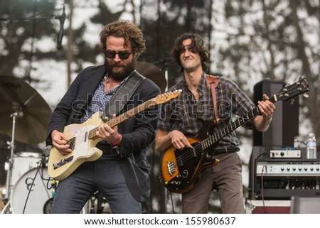 San Francisco, CA USA - August 11, 2013: Taylor Goldsmoth and Wylie Gelber of Dawes performing at the 2013 Outside Lands music festival in Golden Gate Park.  - stock photo